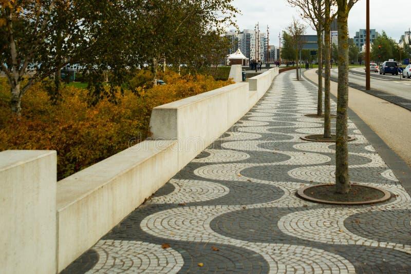 AALBORG, DENMARK: Aalborg`s waterfront has recently undergone a thorough renovation. Denmark royalty free stock photo