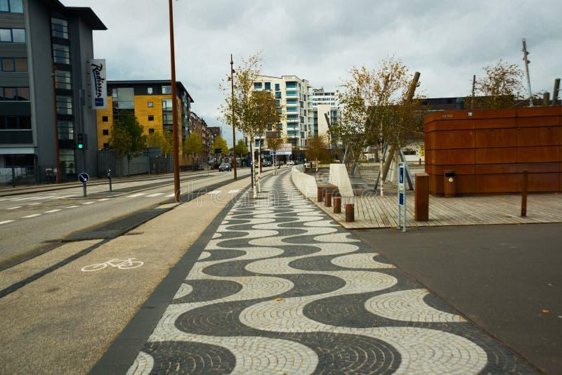 AALBORG, DENMARK: Aalborg`s waterfront has recently undergone a thorough renovation. Denmark royalty free stock photography
