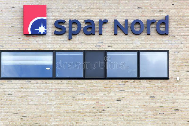 Spar Nord logo on a wall stock images