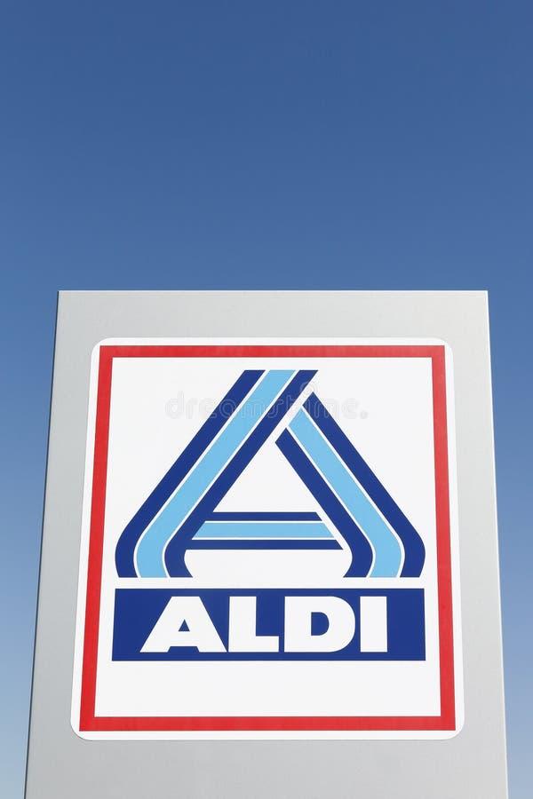 Aldi logo on a panel royalty free stock image