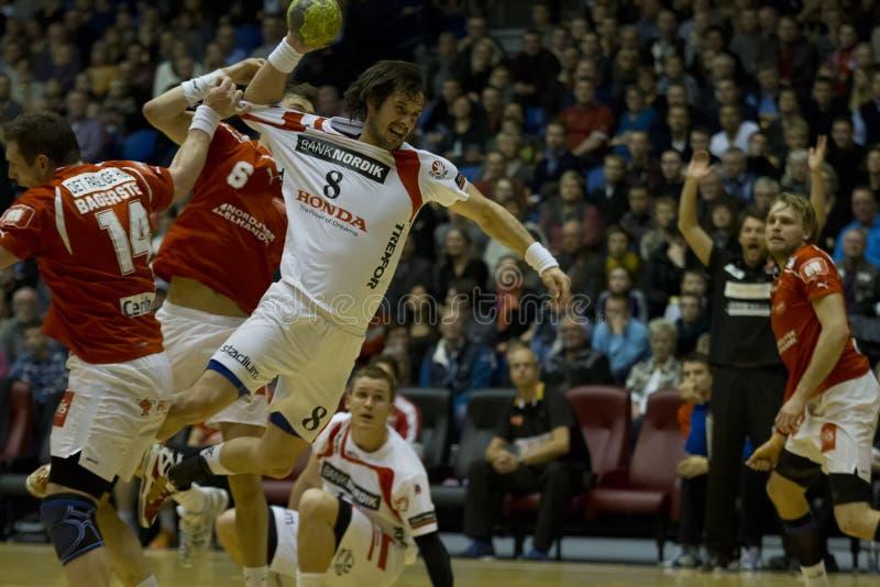 Aalborg-Handball - KIF Kolding stockfotografie