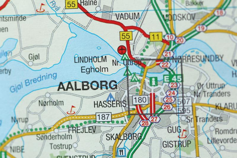 Aalborg. Kongeriget Danmark. A paper map and roads on the map royalty free stock images