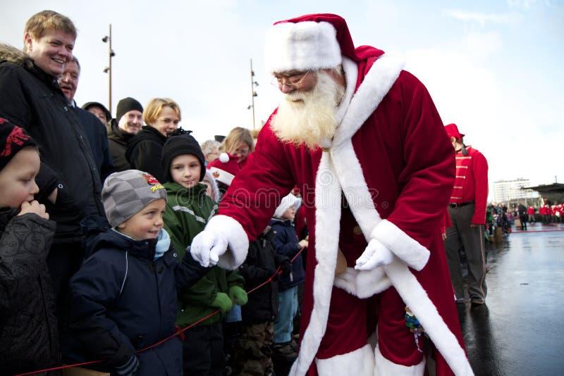 aalborg przyjeżdża Claus Santa fotografia royalty free