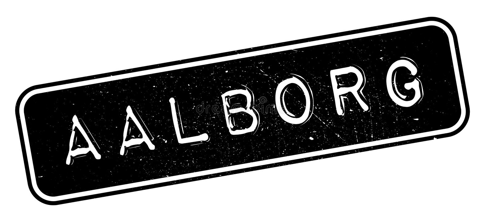 Aalborg rubber stamp. Grunge design with dust scratches. Effects can be easily removed for a clean, crisp look. Color is easily changed stock illustration