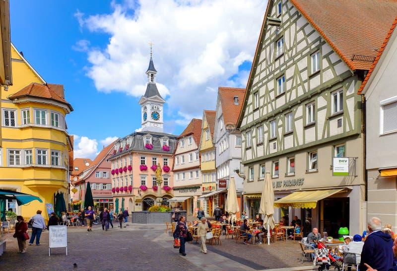 AALEN, DEUTSCHLAND, SEPT. 2015: Hauptstadtplatz Traditioneller Deutscher stockfoto