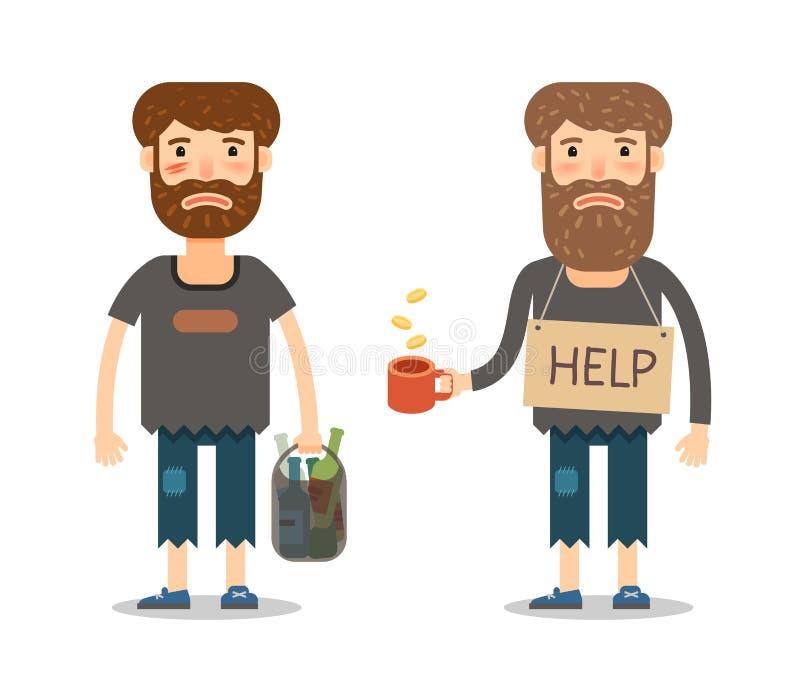 Aalmoes voor de armen Daklozen of straatbedelaar Ongelukkige mens in vuile vodden vector illustratie