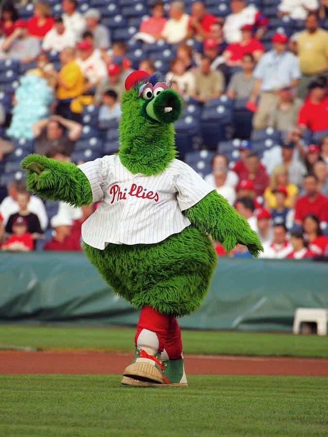Aalmoezenieren MLB versus Phillies Philly Phanatic stock foto's