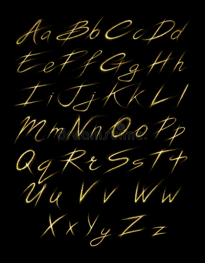 Aalphabet套金闪烁的闪烁发光物冲程 皇族释放例证