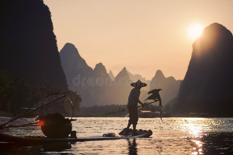 Aalscholvervisser van dorp van Xing Ping, China royalty-vrije stock afbeelding