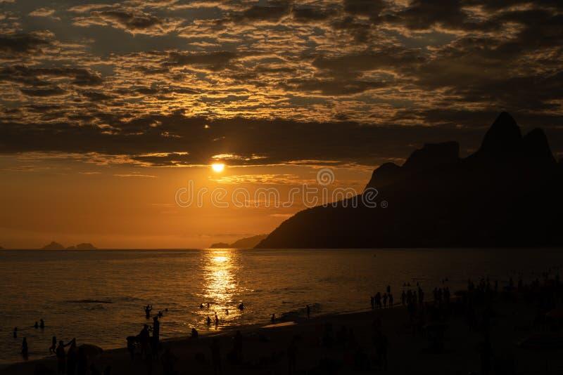 Aamzing sunset over Ipanema beach in Rio de Janeiro. Brazil stock image