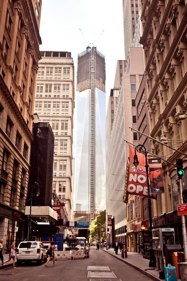 Aan de gang zijnde bouw op het World Trade Center royalty-vrije stock afbeelding