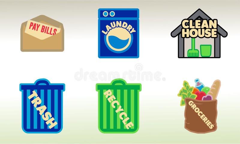 Aan-doe de Vectorkunst van Huishoudenkarweien voor Ontwerpersstickers en meer stock foto