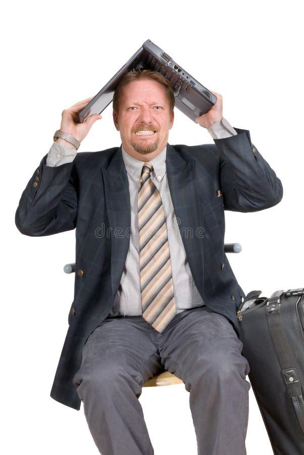 Aan heimwee lijdende reizende zakenman stock afbeelding