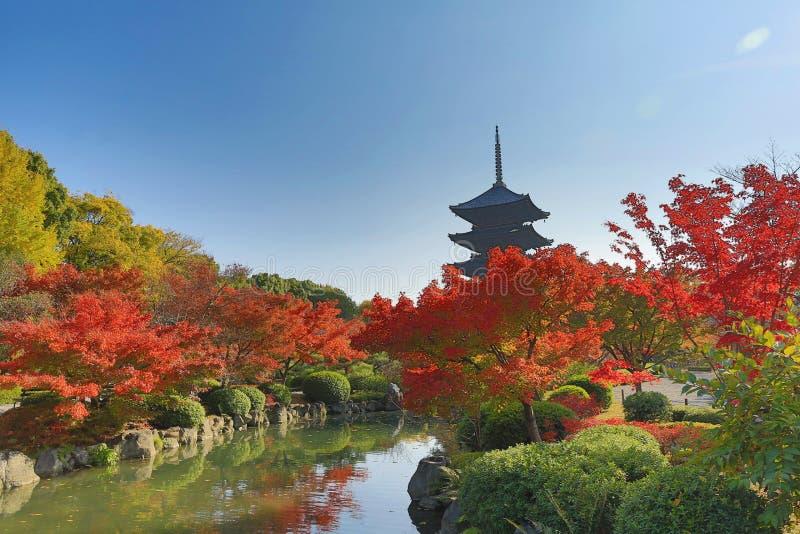 Aan-ji-Pagode in Kyoto, Japan tijdens het dalingsseizoen royalty-vrije stock foto's
