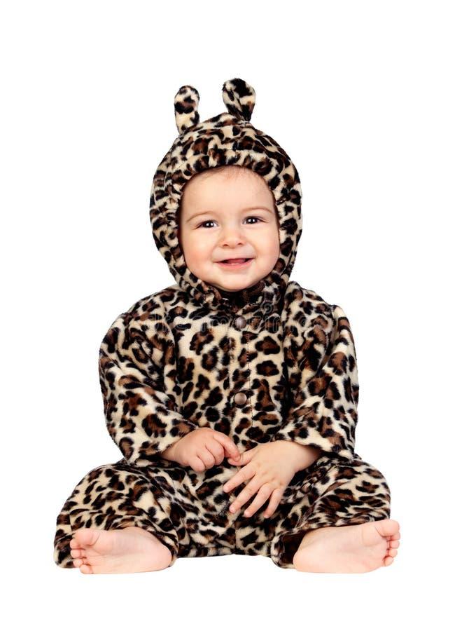 Aanbiddelijk babymeisje met luipaardkostuum stock afbeeldingen