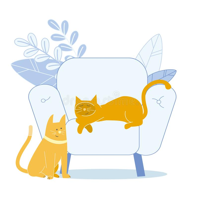 Aanbiddelijk Ginger Cats Flat Vector Illustration royalty-vrije illustratie