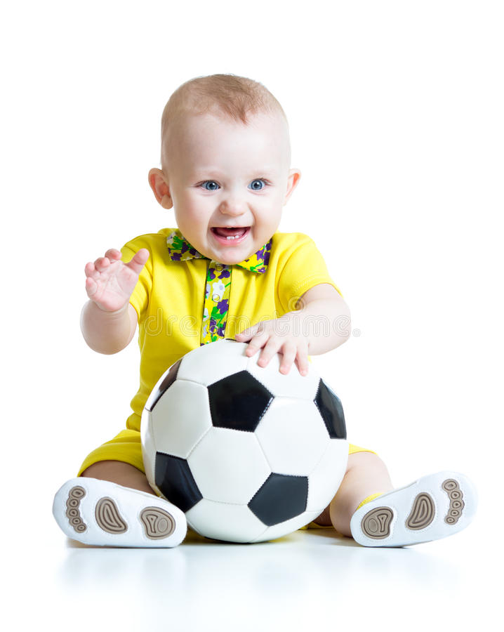 Aanbiddelijk jong geitje met voetbal over witte achtergrond royalty-vrije stock foto's