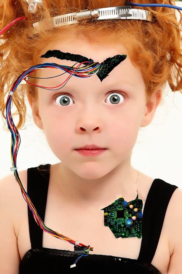 Aanbiddelijk Kind Cyborg met Blootgestelde Draden stock fotografie