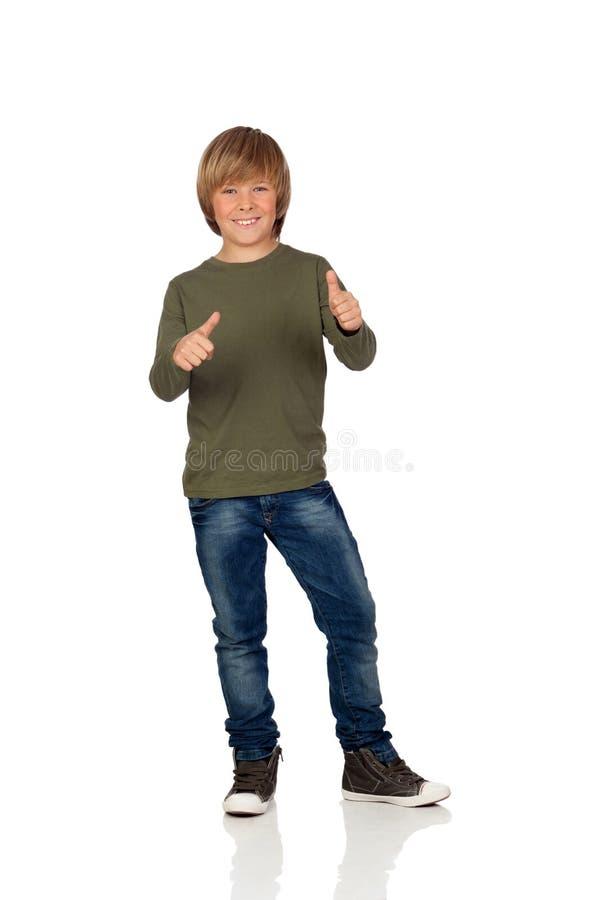 Aanbiddelijk kind die o.k. zeggen stock fotografie
