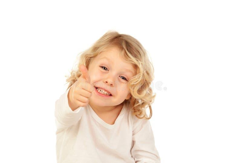 Aanbiddelijk klein blond kind die O.k. zeggen royalty-vrije stock afbeelding