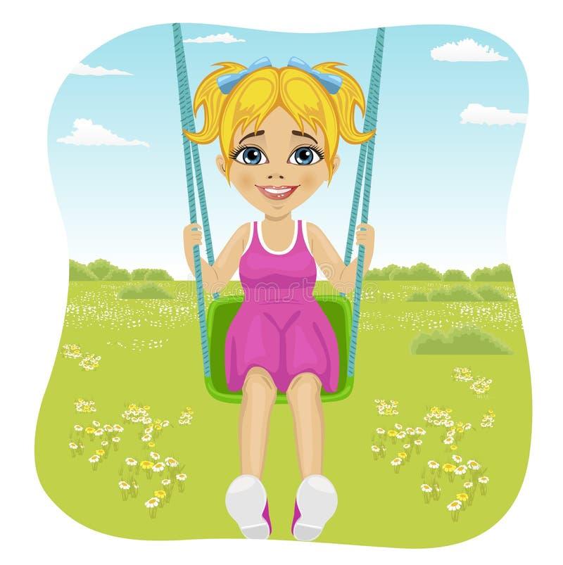 Aanbiddelijk meisje die pret op een schommeling in de zomerpark hebben stock illustratie