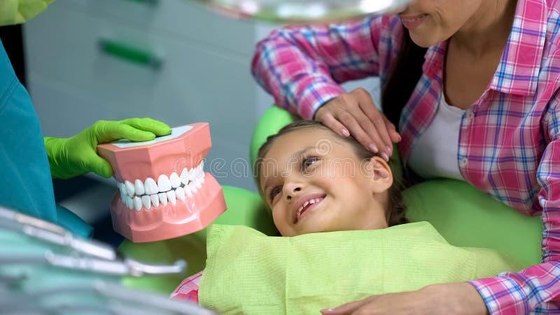 Aanbiddelijk meisje die tandarts bekijken die kunstmatig kaakmodel, onderwijs houden royalty-vrije stock fotografie