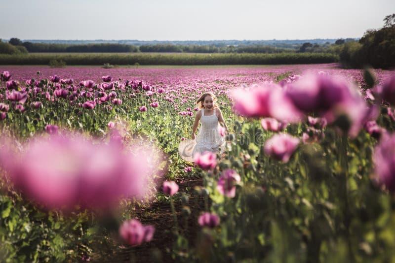 Aanbiddelijk meisje met lang haar in het witte kleding eenzame lopen op het Lilac Poppy Flowers-gebied stock afbeelding