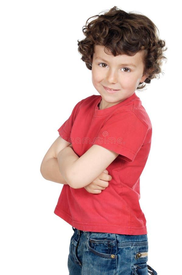 Aanbiddelijk toevallig kind stock foto's