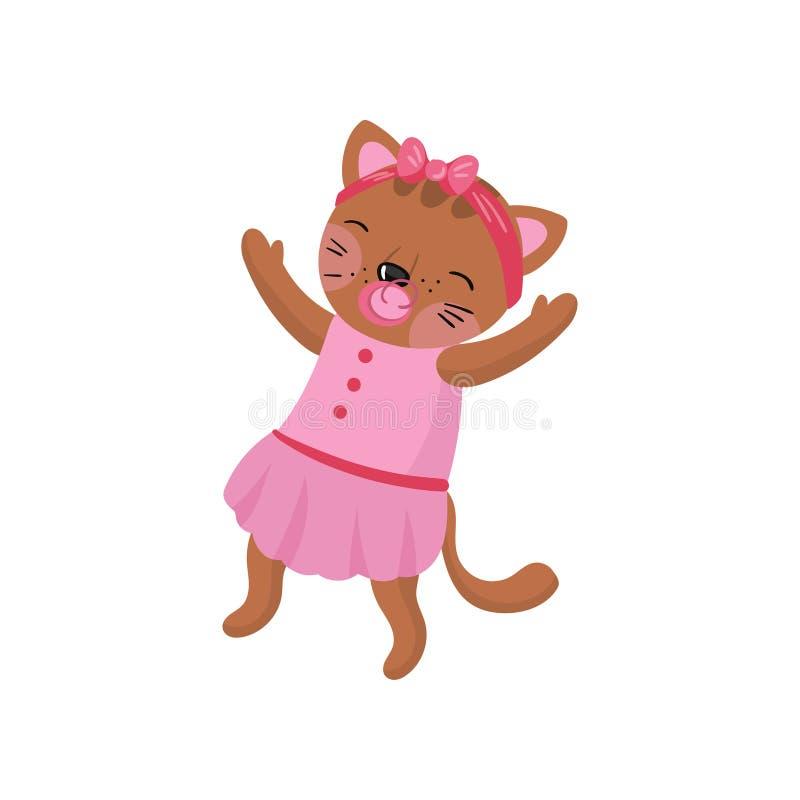 Aanbiddelijk vermenselijkt katje die roze kleding en hoepel met boog op hoofd dragen Babymeisje met fopspeen in mond Grappige vec royalty-vrije illustratie