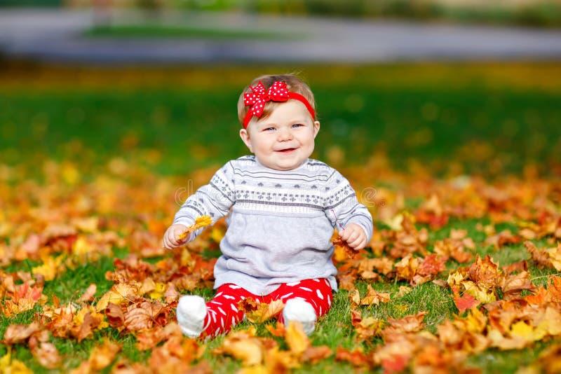 Aanbiddelijk weinig babymeisje in de herfstpark op zonnige warme oktober-dag met eik en esdoornblad Het gebladerte van de daling  stock foto