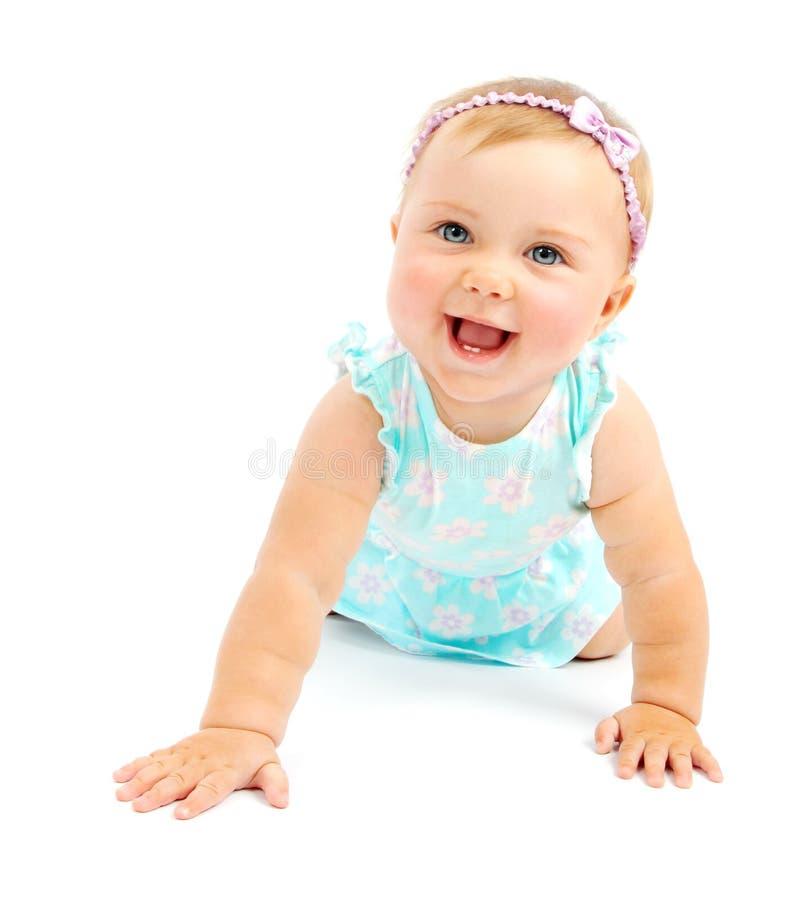 Aanbiddelijk weinig babymeisje het lachen stock fotografie