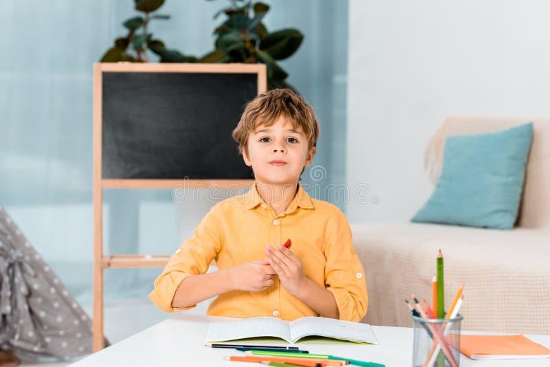 aanbiddelijk weinig jongen die bij lijst en het kijken bestuderen stock afbeeldingen