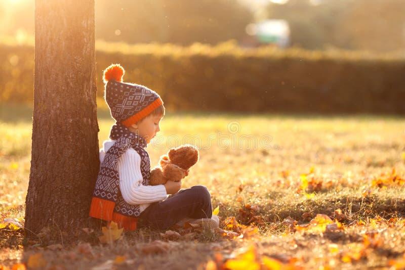 Aanbiddelijk weinig jongen met teddybeer in park op de herfstdag royalty-vrije stock afbeelding
