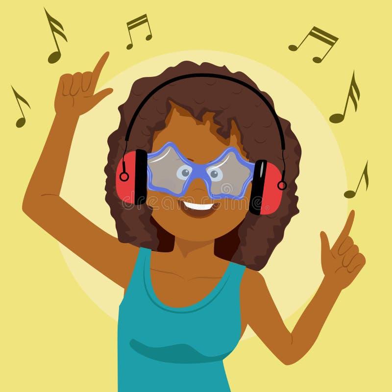 Aanbiddelijke Afrikaanse Amerikaanse vrouw die en pret zingen hebben die aan muziek luisteren die draadloze oortelefoons met behu royalty-vrije illustratie