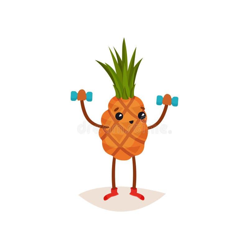 Aanbiddelijke ananas die oefening met domoren doen Grappig tropisch fruit Actief en gezond levensstijlthema Vlakke vector stock illustratie