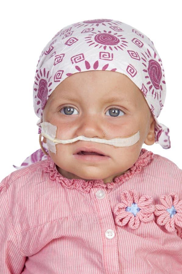 Aanbiddelijke baby die de ziekte slaan royalty-vrije stock afbeelding
