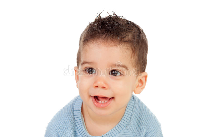 Aanbiddelijke baby negen maanden stock afbeelding
