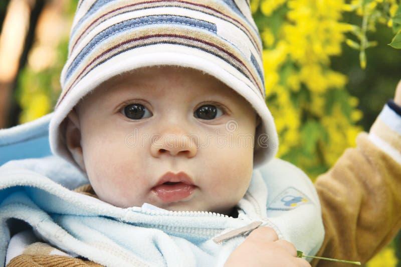 Aanbiddelijke baby in openlucht royalty-vrije stock foto