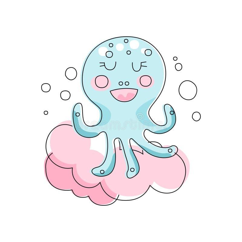 Aanbiddelijke blauwe octopus tegen roze pluizige wolkenachtergrond Het mariene leven Hand getrokken stijl Lineair vectorontwerp v stock illustratie