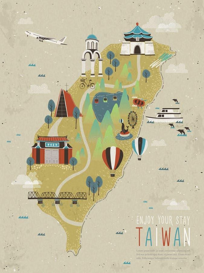 Aanbiddelijke de aantrekkelijkhedenkaart van Taiwan vector illustratie