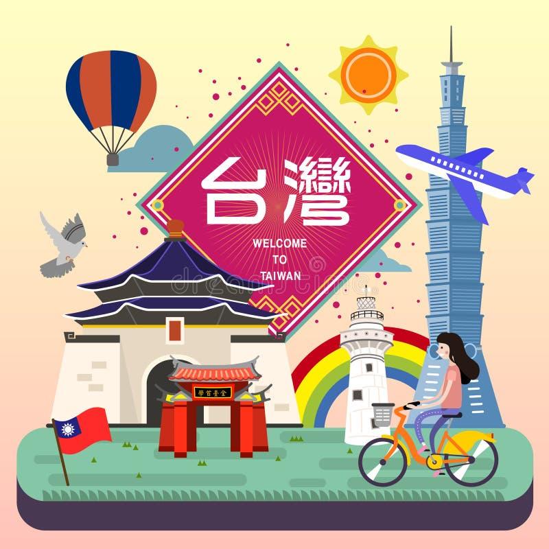 Aanbiddelijke de reisaffiche van Taiwan royalty-vrije illustratie