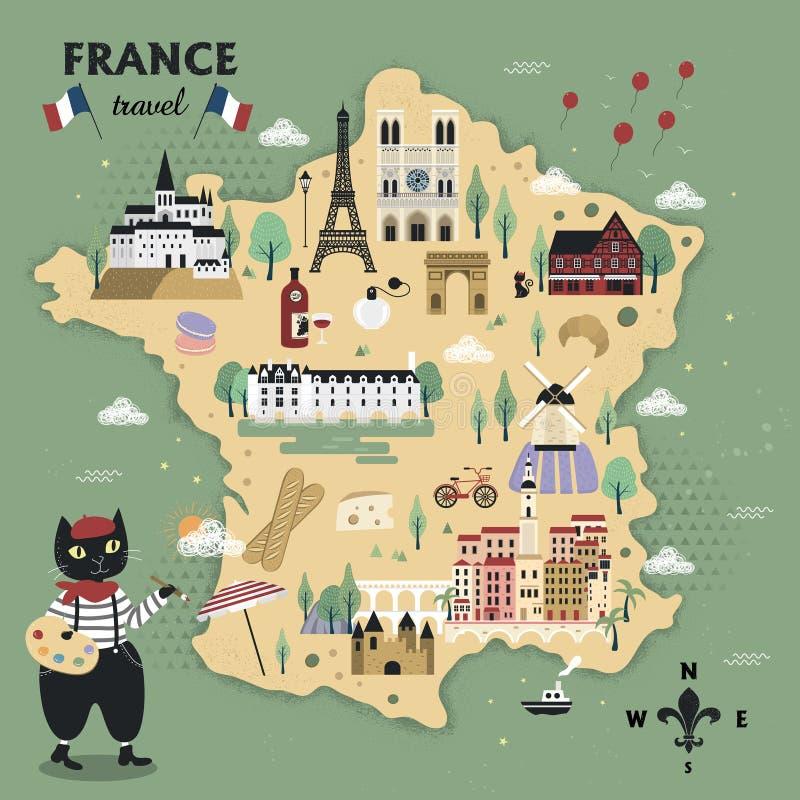 Aanbiddelijke de reiskaart van Frankrijk stock illustratie