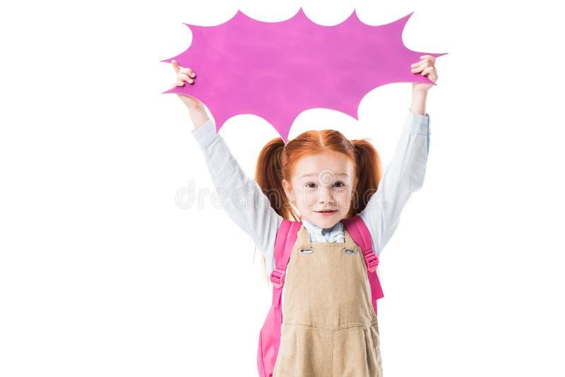 Aanbiddelijke het glimlachen lege de toespraakbel van de schoolmeisjeholding stock afbeelding