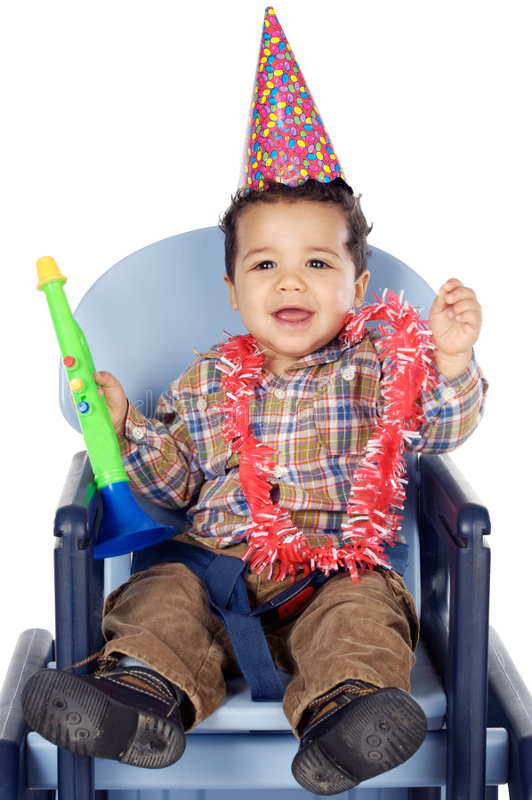 Aanbiddelijke jongen die uw verjaardag viert stock foto's