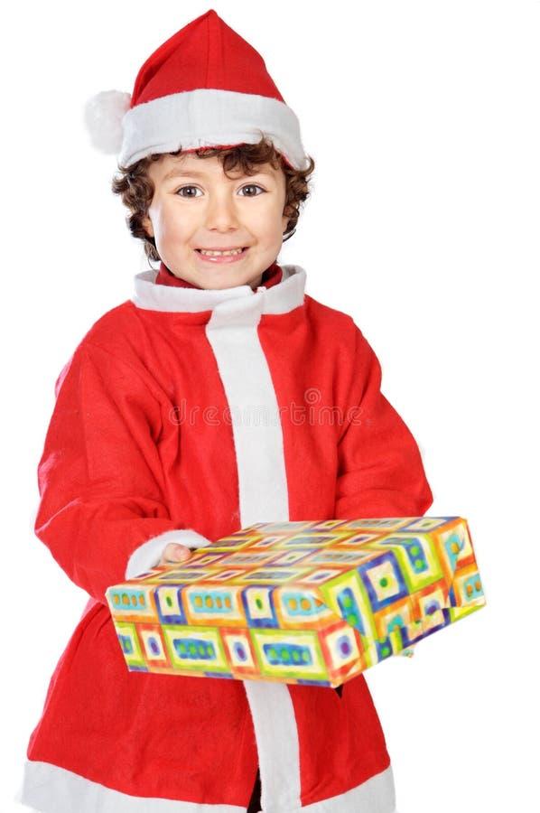 Aanbiddelijke jongen in Kerstmis royalty-vrije stock foto's