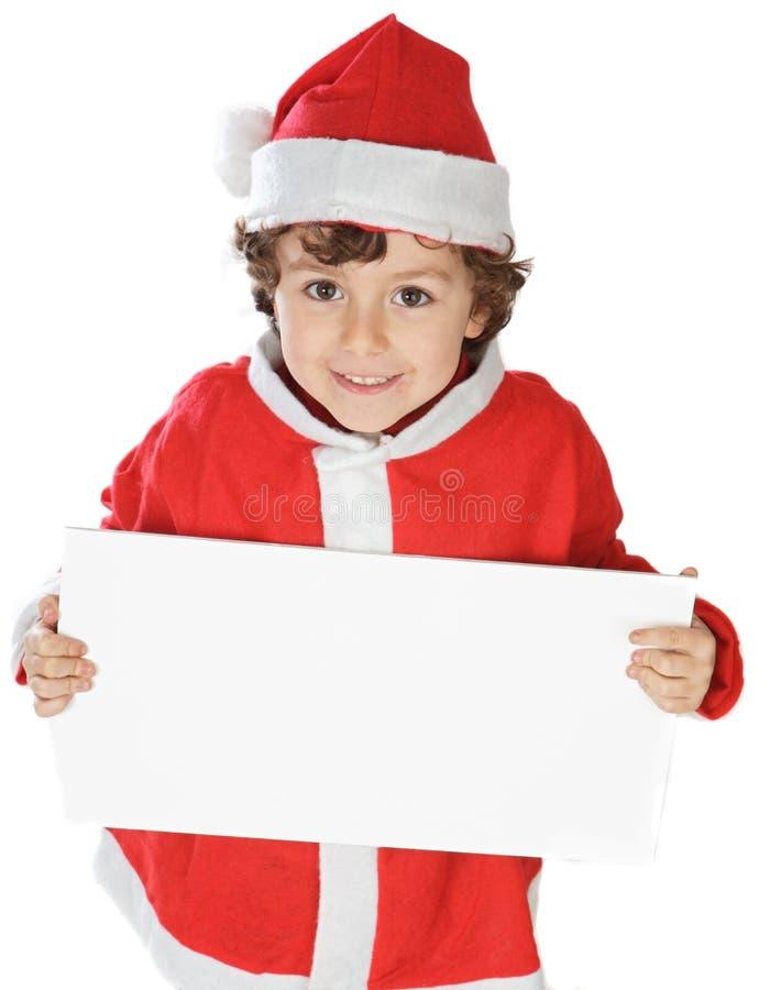 Aanbiddelijke jongen in Kerstmis royalty-vrije stock afbeelding