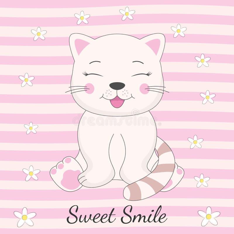 Aanbiddelijke kattenzitting en inschrijvings zoete glimlach vector illustratie
