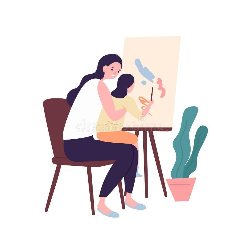 Aanbiddelijke of moeder en dochter die schilderen trekken Leuk grappig mamma en kind die recreatieve kunstactiviteit uitvoeren ou royalty-vrije illustratie