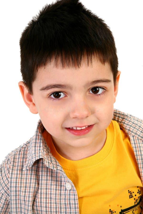Aanbiddelijke Oude Jongen Van vijf jaar stock foto's