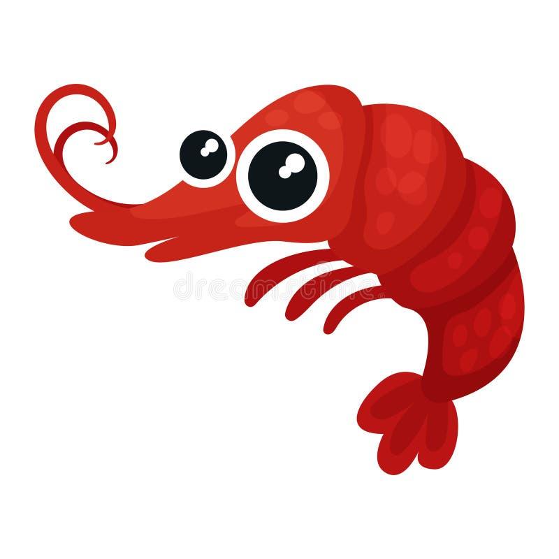Aanbiddelijke rode garnalen met grote glanzende ogen Klein marien schepsel Het overzeese leven Vlakke vector voor mobiel spel of  stock illustratie